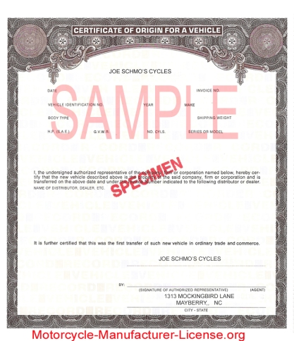Manufacturers Certificate Of Origin MCO